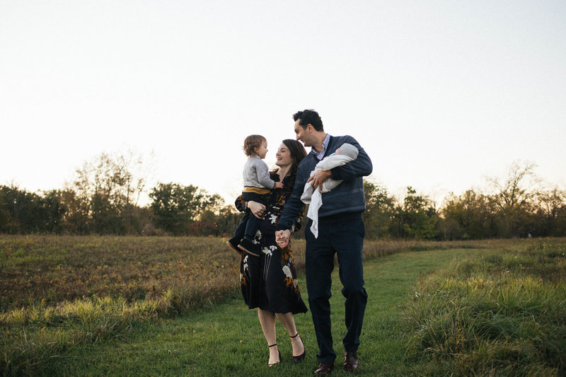 Family of four taking a walk at sunset session, Elle Baker Photography