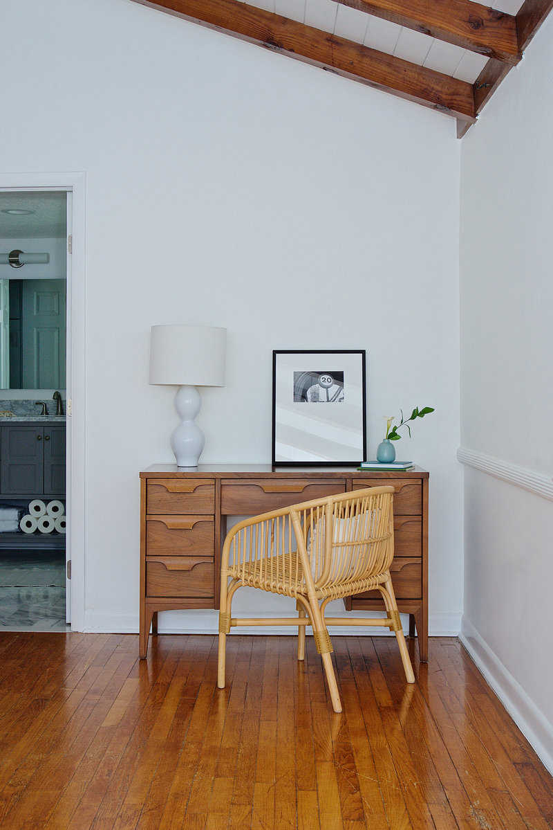 Mid century modern and rattan office area by Denver based interior designer Fernway & Avalon