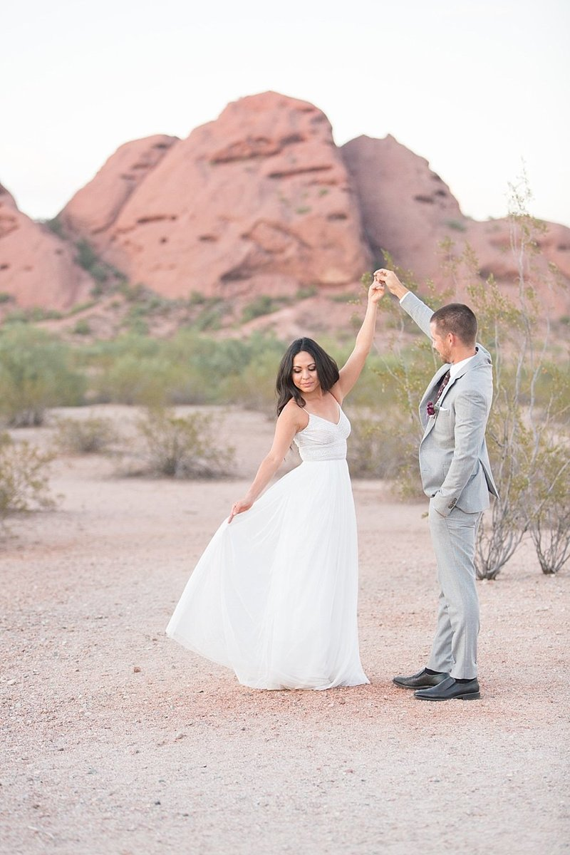 couple dancing in desert | Monique Lockwood