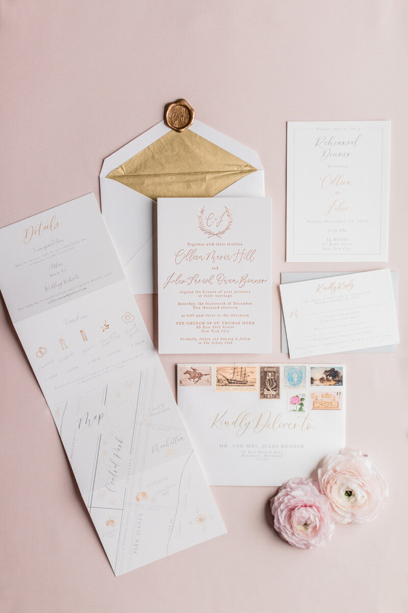 pirouettepaper.com _ Wedding Stationery, Signage and Invitations _ Pirouette Paper Company _ Colony Club Upper East Side New York City Wedding _ Lindsay Campbell Photography