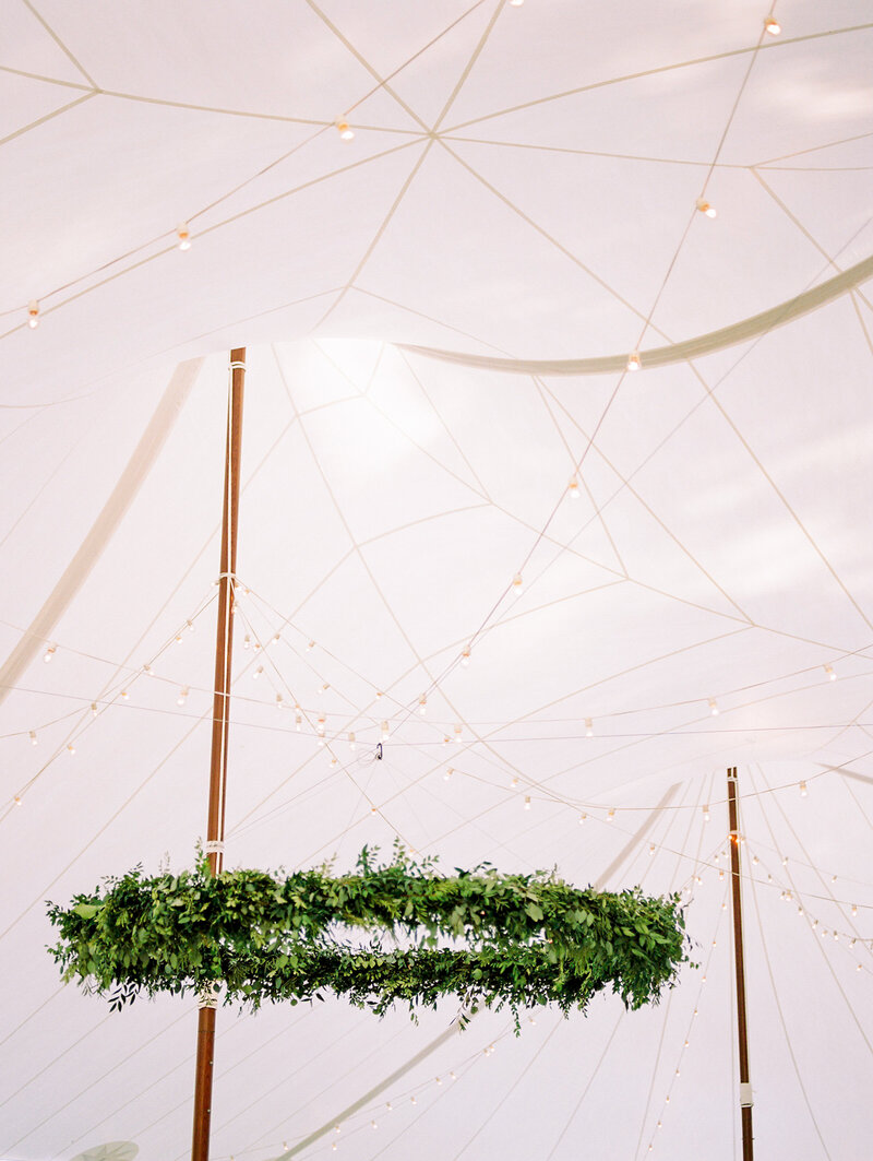 Oversized Greenery Wreath and Sailcloth wedding tent