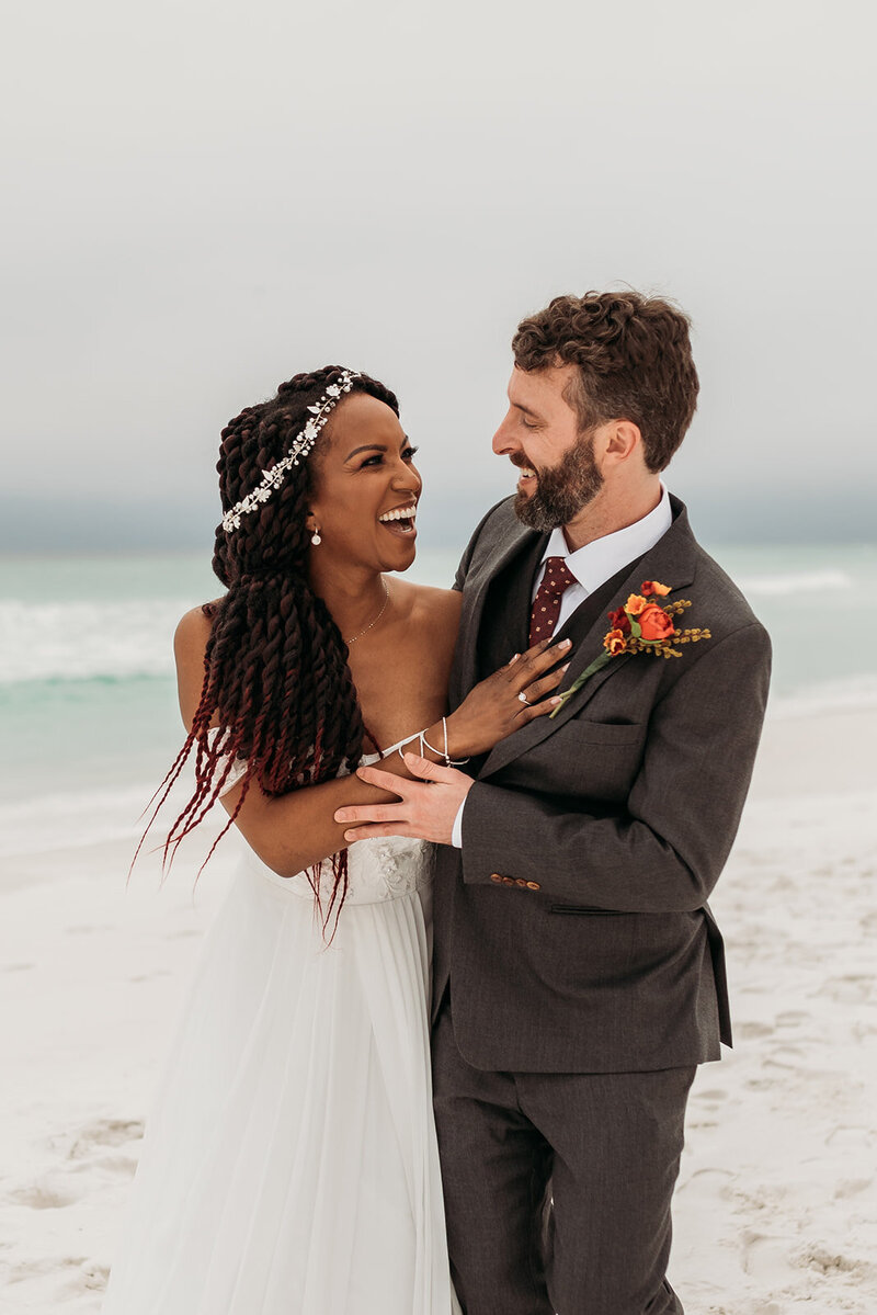 Bride and Groom portraits at beach wedding
