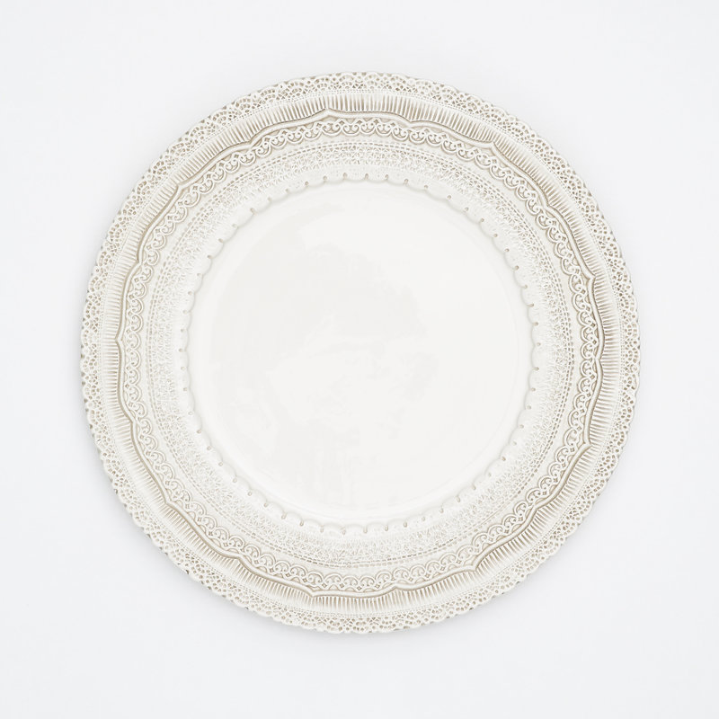 13 inch Cream Colored Lace Charger