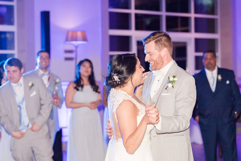 bride and groom first dance  at Stone House at Stirling Ridge Maryland Wedding by  Costola Photography