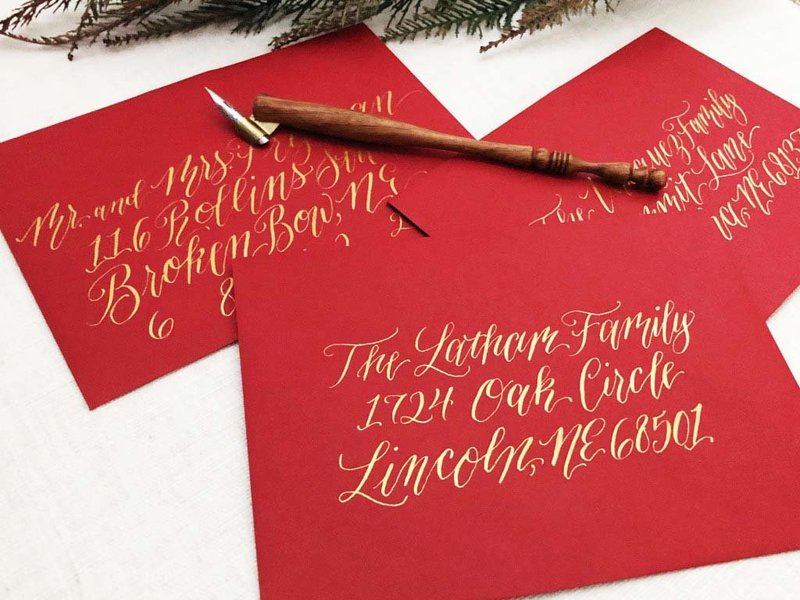 Red and gold Christmas envelope calligraphy copy