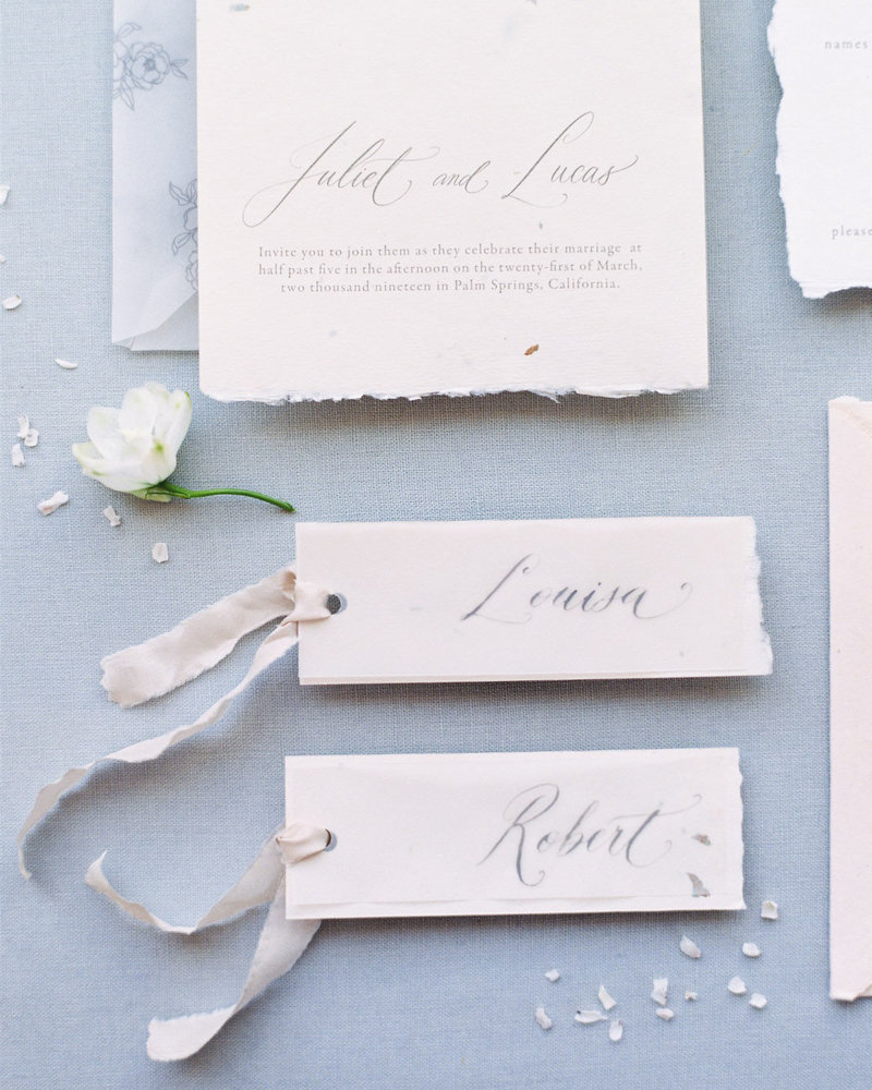 Dominique Alba calligraphy place card tags with silk ribbon handmade paper