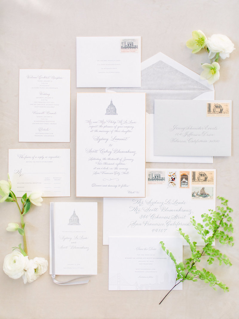 Invitation for wedding by Jenny Schneider Events at the San Francisco City Hall. Photo by Larissa Cleveland Photography.