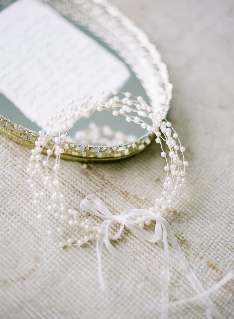 Pearl Bridal Hairband and Accessories captured on film for the Kathryn Bass Bridal Campaign  in Vancouver