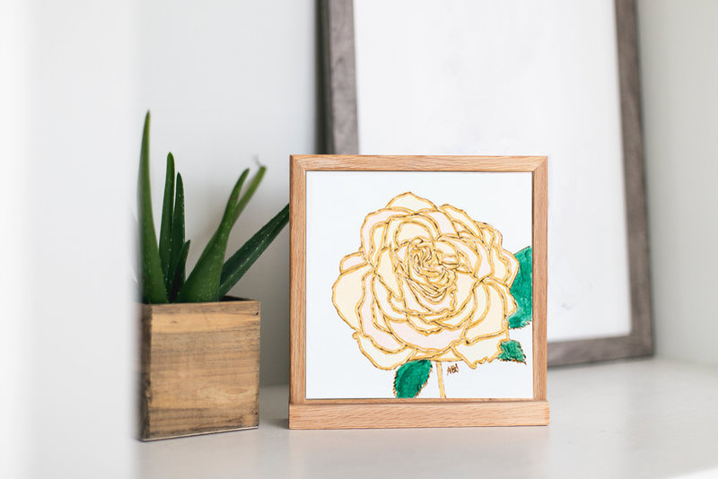 pyrography on paper yellow flower 2 on desk