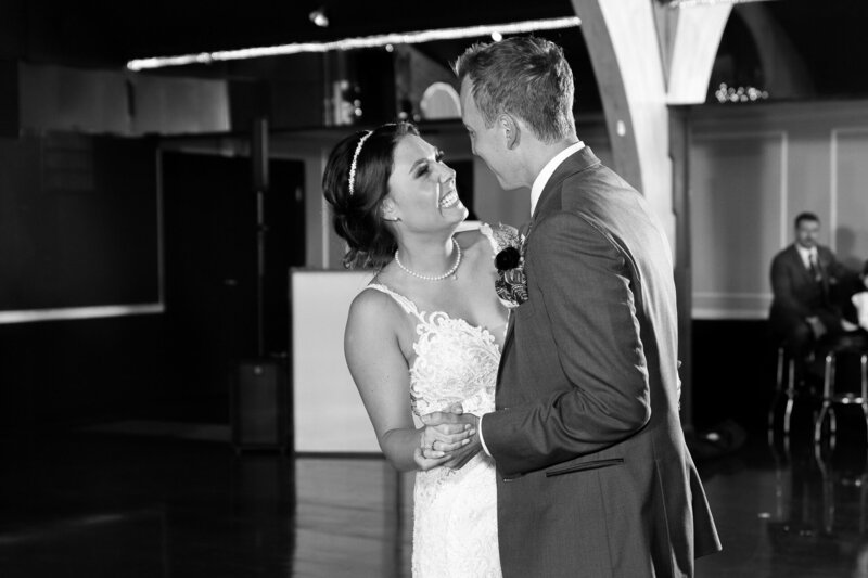 bride and groom first dance at detroit wedding reception