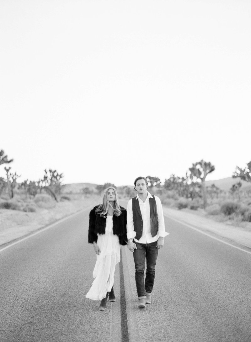 26-KTMerry-engagement-photography-Joshua-Tree-highway-black-white