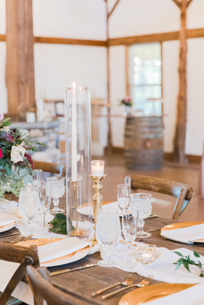 gold and wine table settings at great marsh estate wedding in northern virginia by costola photography