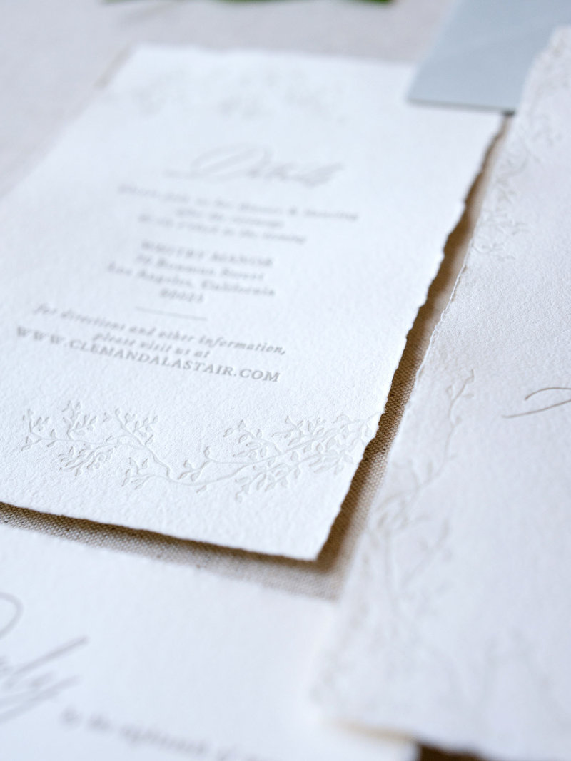 Semi-Custom Invitation Collection - Cascading Beauty Details Card Add-on Closeup