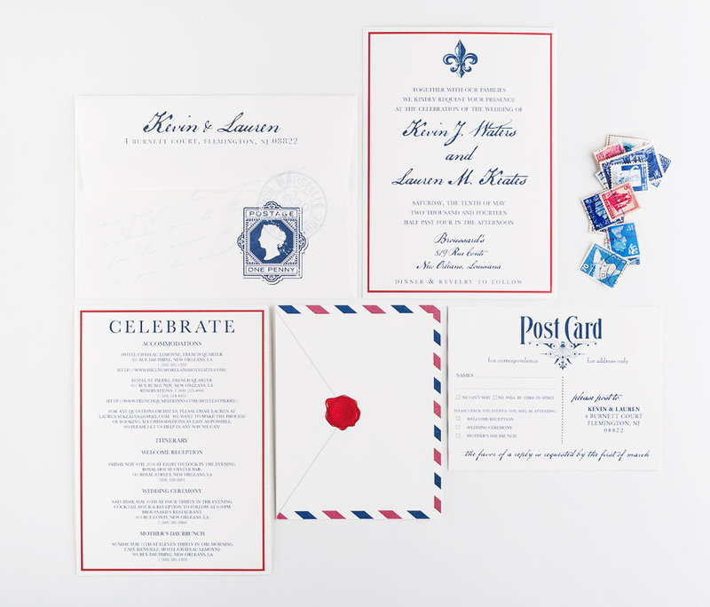 Airmail Travel Wedding Invitation Collection