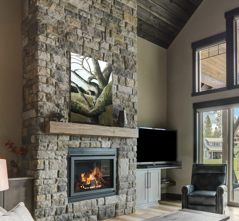 Twisted on stone fireplace