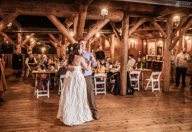 Dance floor photo inside rustic log cabin at Piney River Ranch
