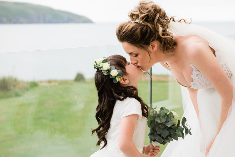 mum and daughter wedding photograph, family wedding, flower girl