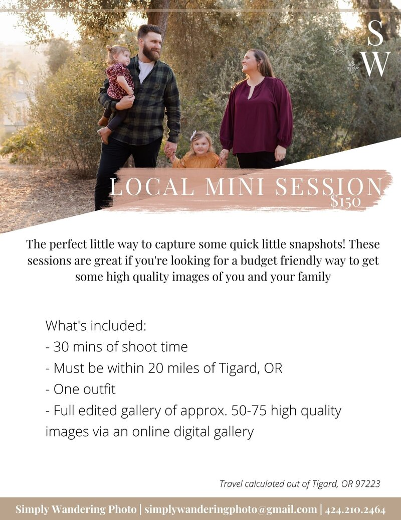 pnw family photography session package