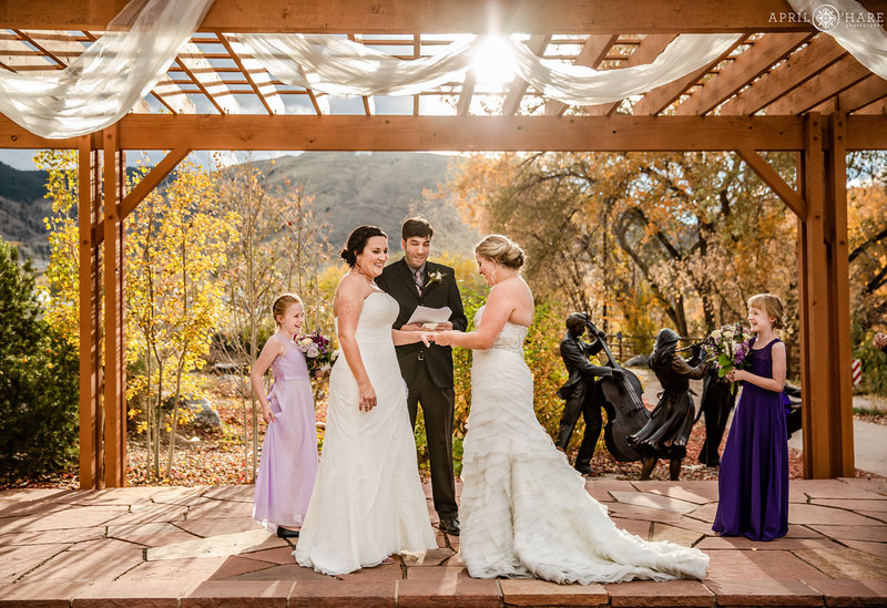 Ring Exchange under the wood pergola at The Golden Hotel During Autumn