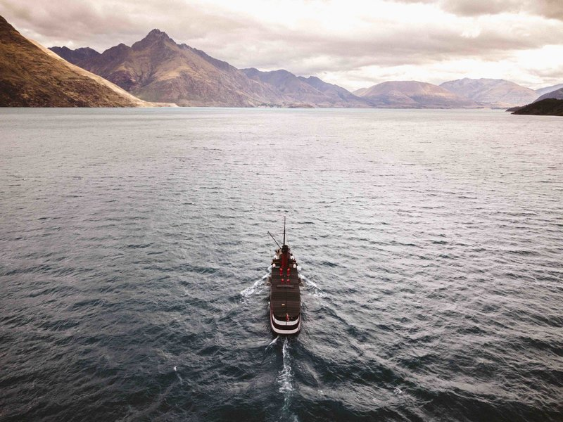 The Lady of the Lake, the Earnslaw, steaming up Lake Wakatipu, New Zealand