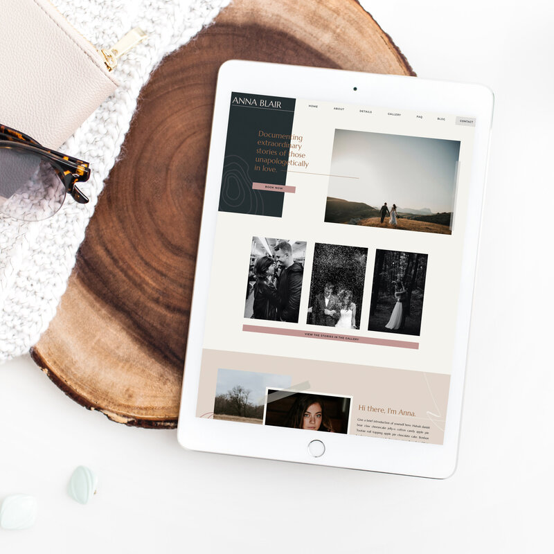 An ipad mockup of a website template on a wood slice.