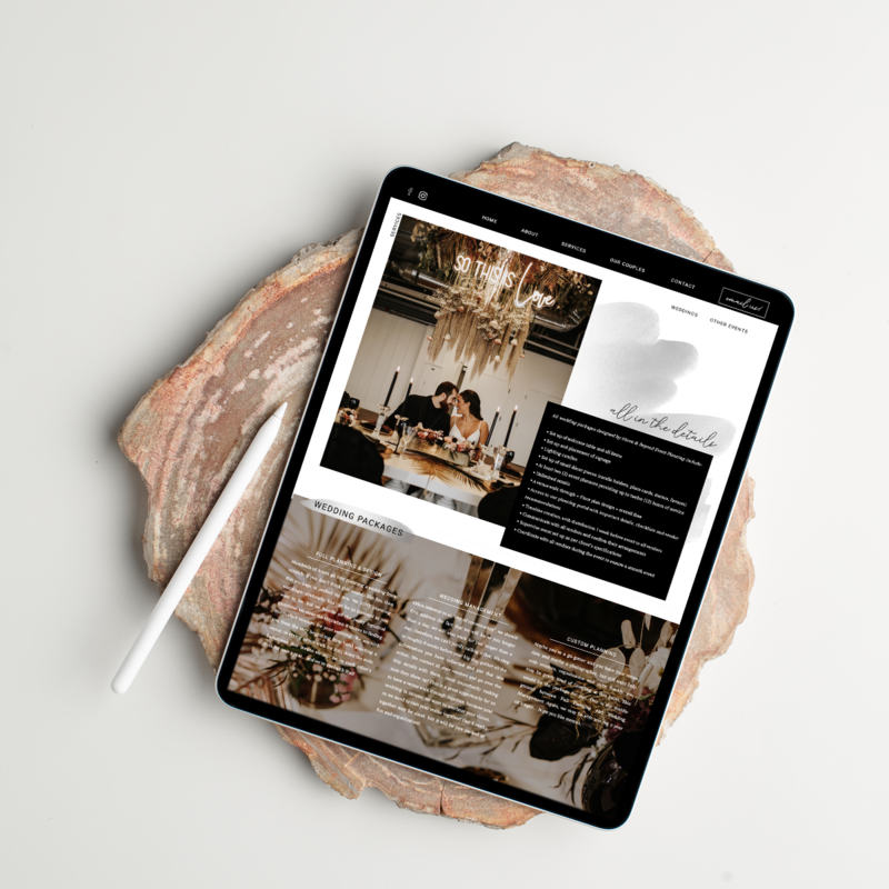 event planning website mockup on ipad