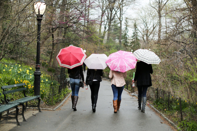 Senior model team walking in Central Park in New York City