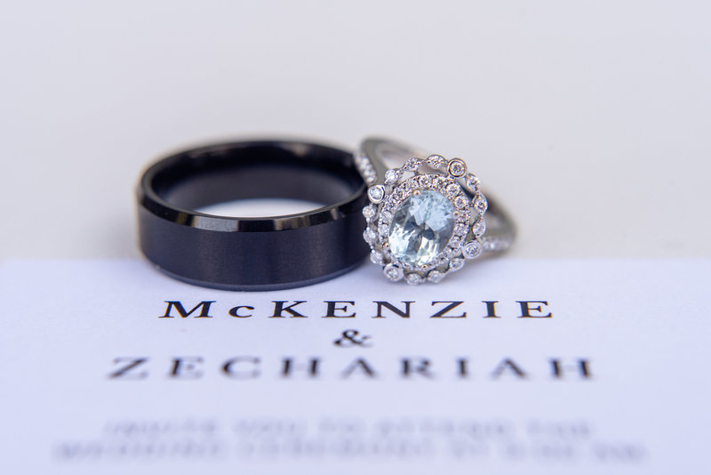 aquamarine wedding ring with man ring on wedding invite