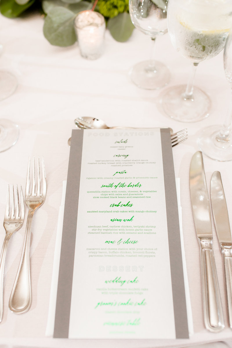Wedding menu in gray and green