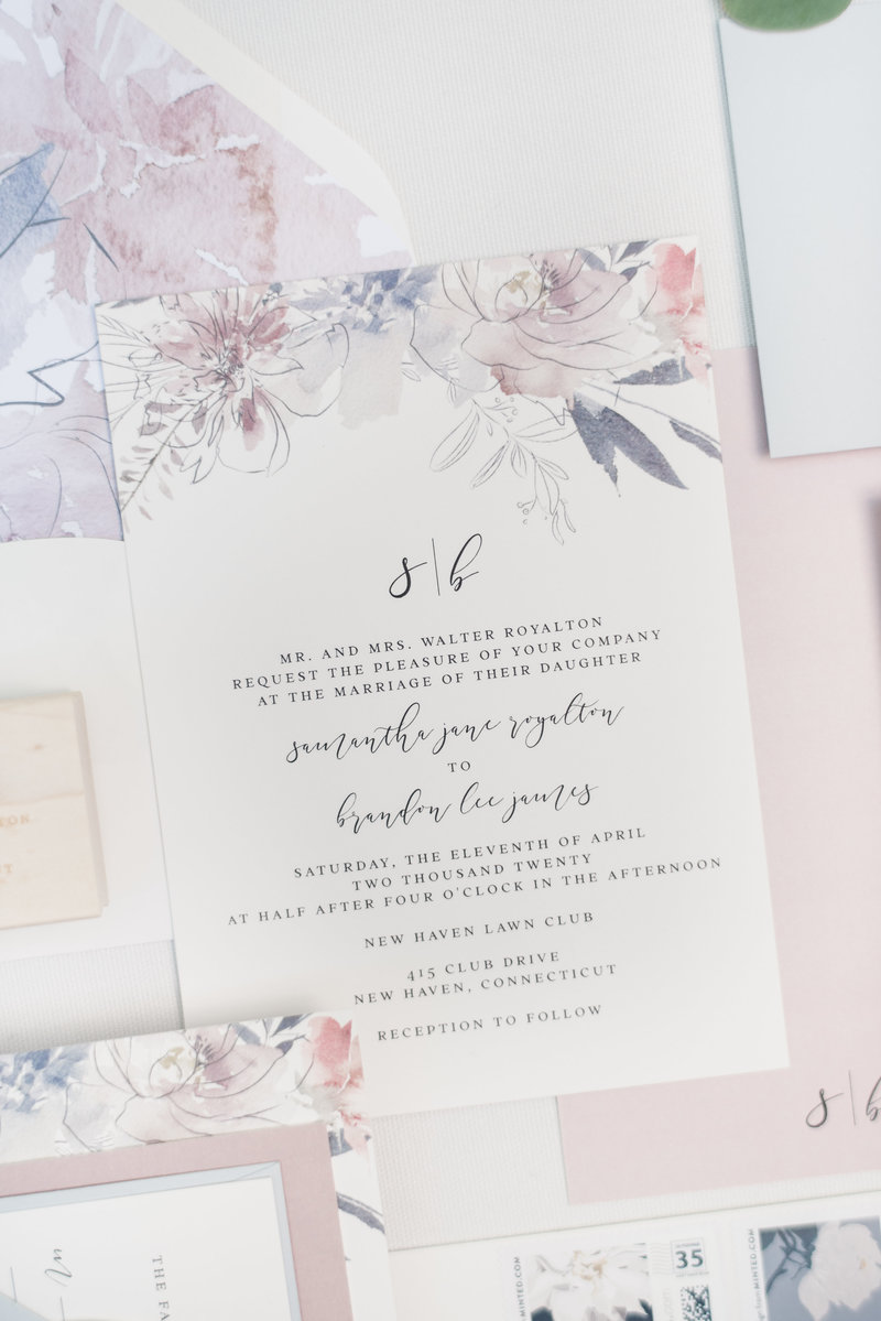 Poppy Floral Monogram Wedding Invitation