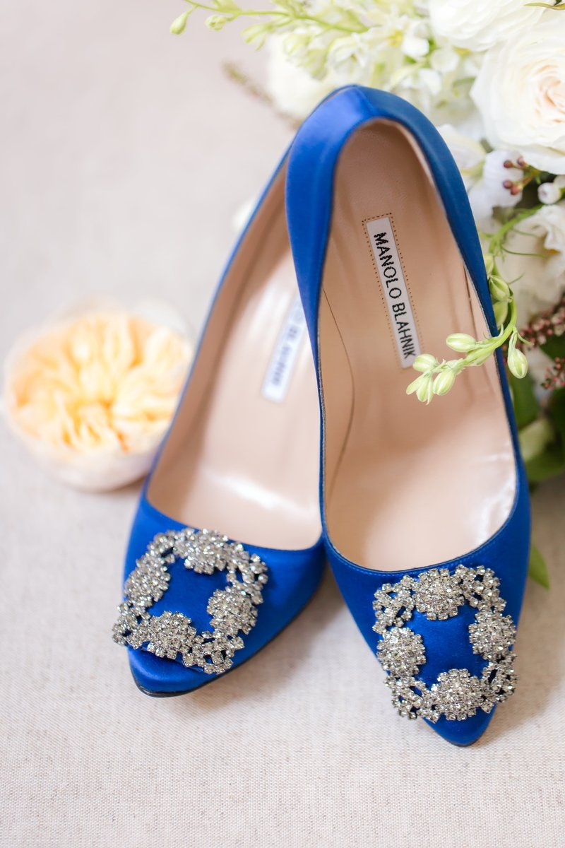 Manolo Blahnik blue shoes