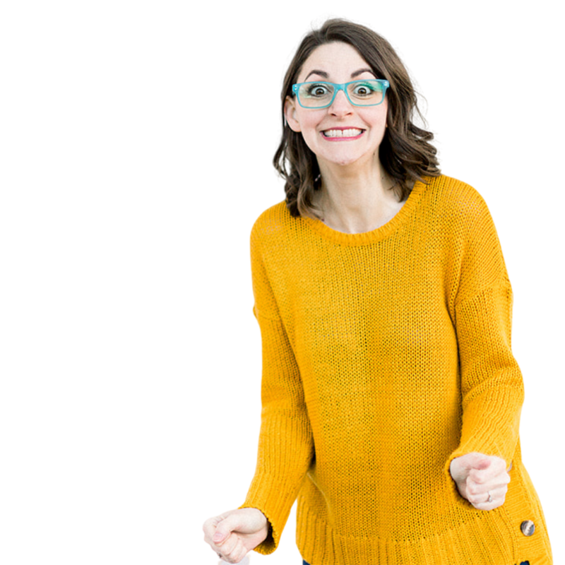 Transparent Background yellow sweater excited