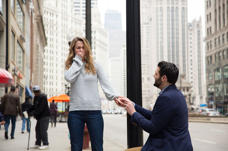Downtown Chicago Mag Mile Trump Hotel Surprise Proposal Engagement Session Taylor Ingles Photography 10