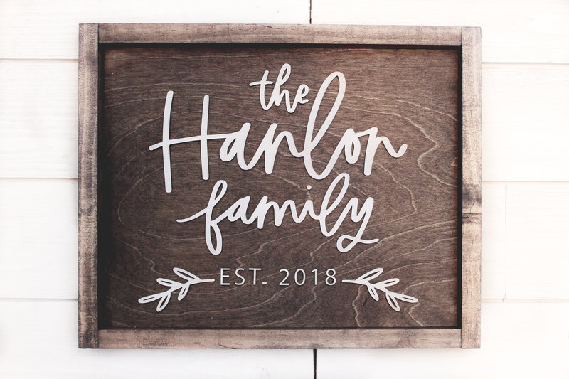 Family Name and Small Branches Farmhouse Sign