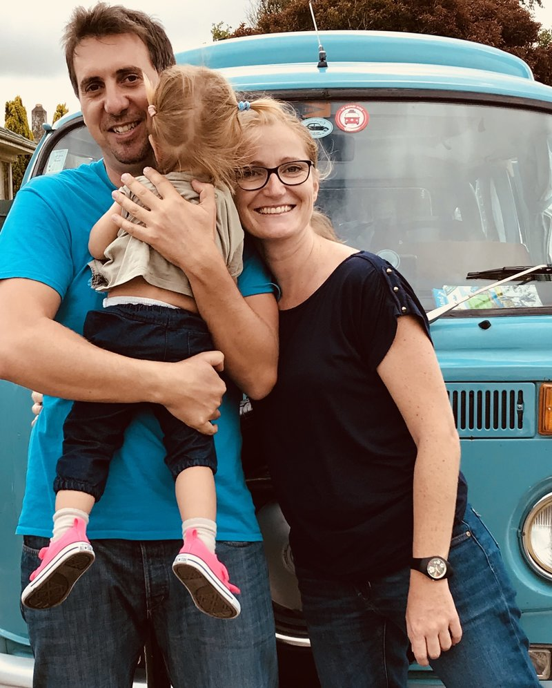 Coralie and family in front of kombi van Rhonda in Invercargill, New Zealand