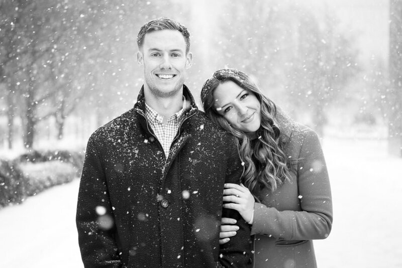 snowy winter engagement session in Millennium Park Chicago