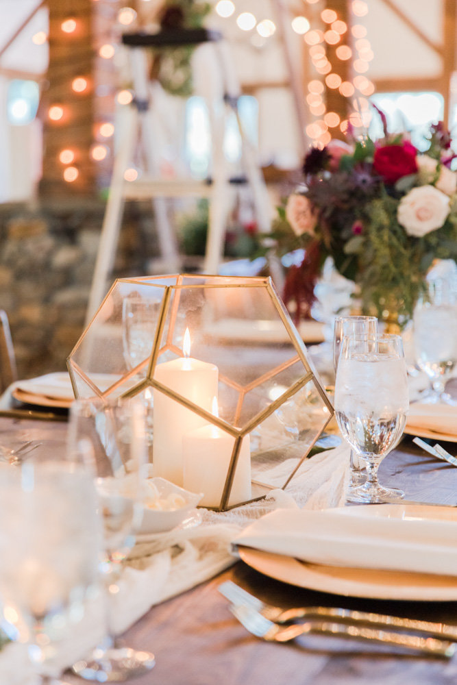 gold and wine wedding decor at great marsh estate wedding in northern virginia by costola photography