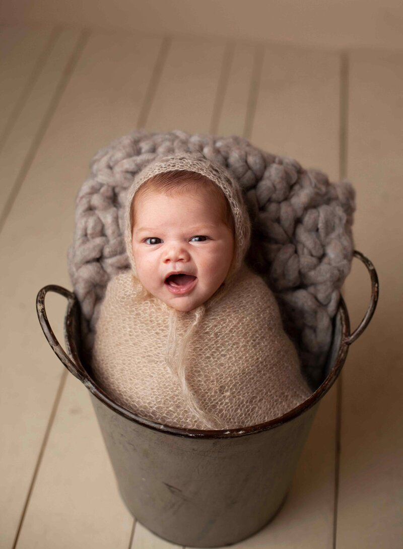 newborn baby in a bucket with cream and grey wraps