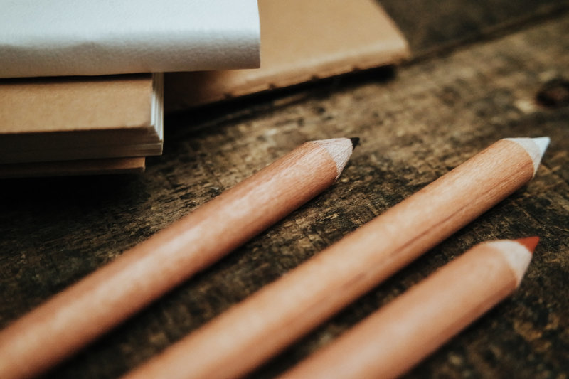 Wooden Pencils on a desk