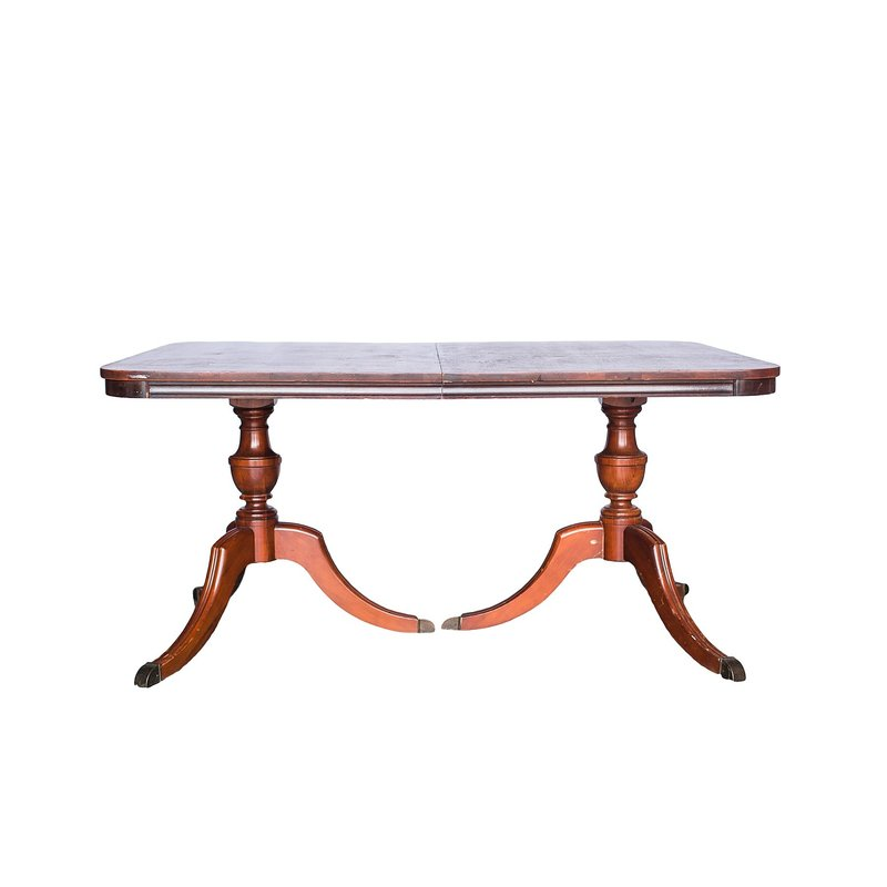 Brown vintage two pedestal table.