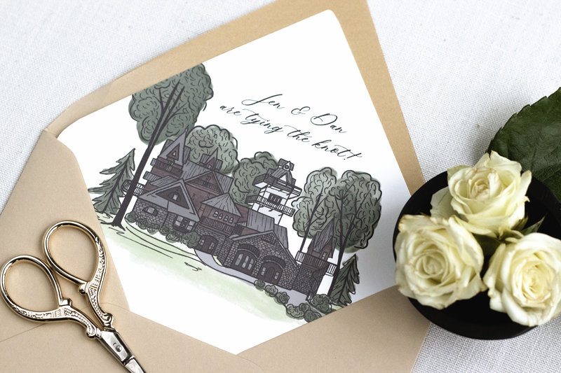 Gorgeous envelope liner with a watercolor illustration of the venue – an amazing way to add color and personality to your invitation