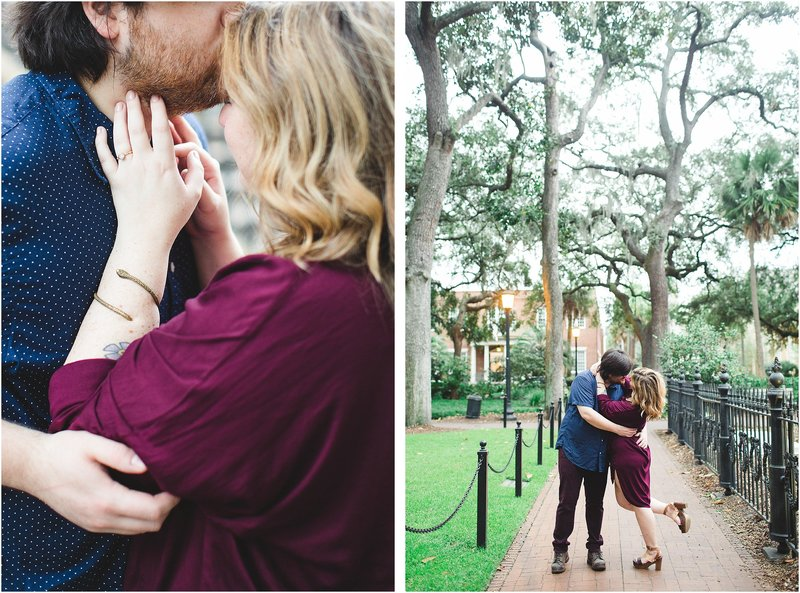 savannah engagement session in a square