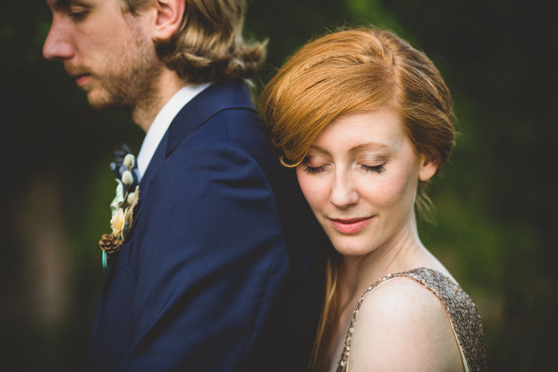 closeup of boho bride and groom from wedding in york