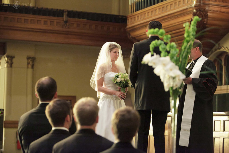 Real wedding ceremony at Central Presbyterian in downtown Denver