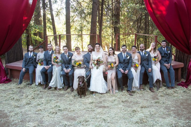 forest wedding bridal party
