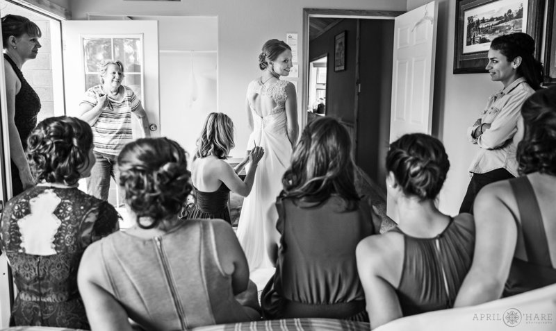 B&W Phioto of the bride in a cabin at Mountain View Ranch in Pine
