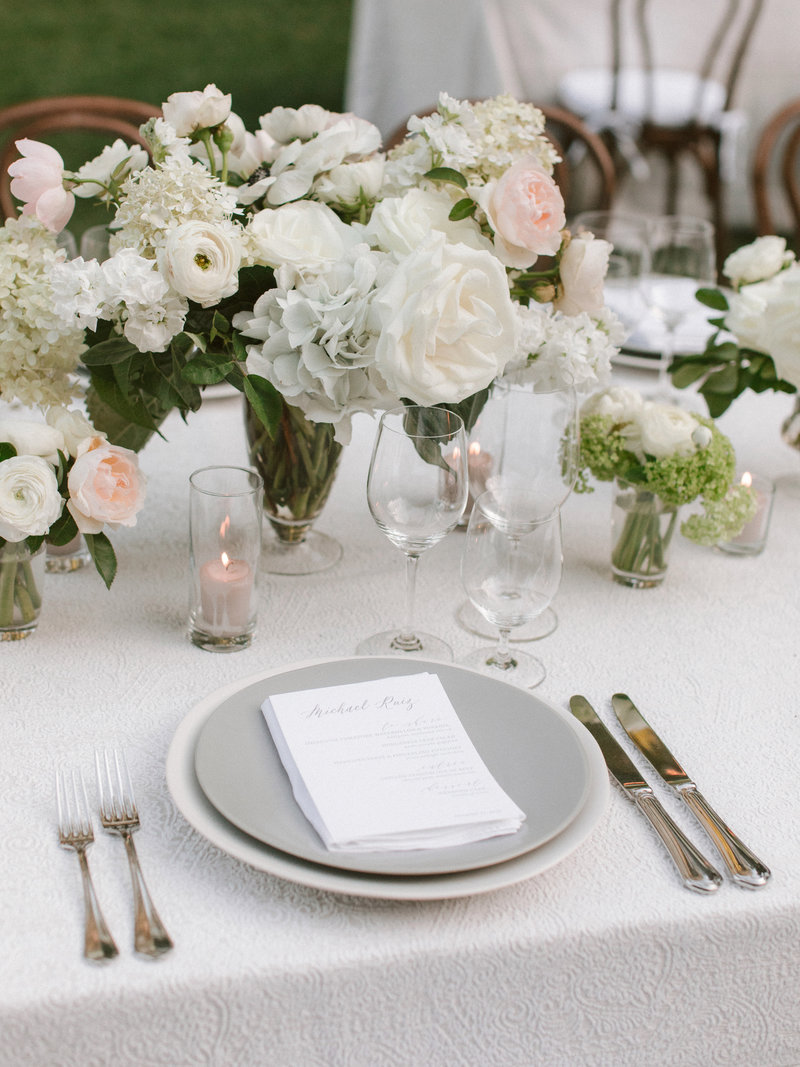 Tablescape for wedding by Jenny Schneider Events at Meadowood luxury resort in Saint Helena in Napa Valley, California.