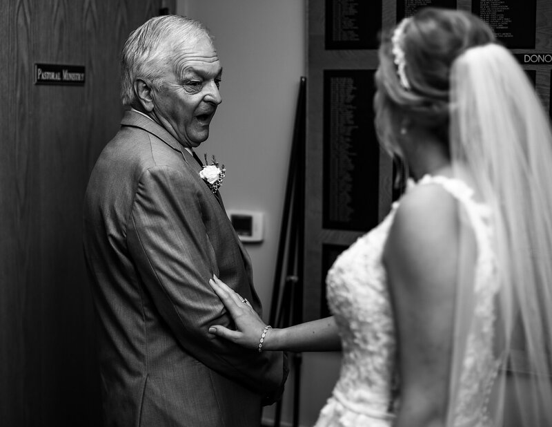 Father reacts to seeing bride at St George church wedding in Erie PA