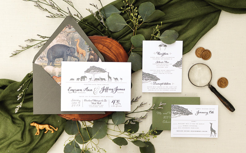 This is the perfect invitation for getting married in a zoo! The invitation features silhouetted animals gathered under and around an African Baobab tree. Under the illustration is the wedding invitation details.