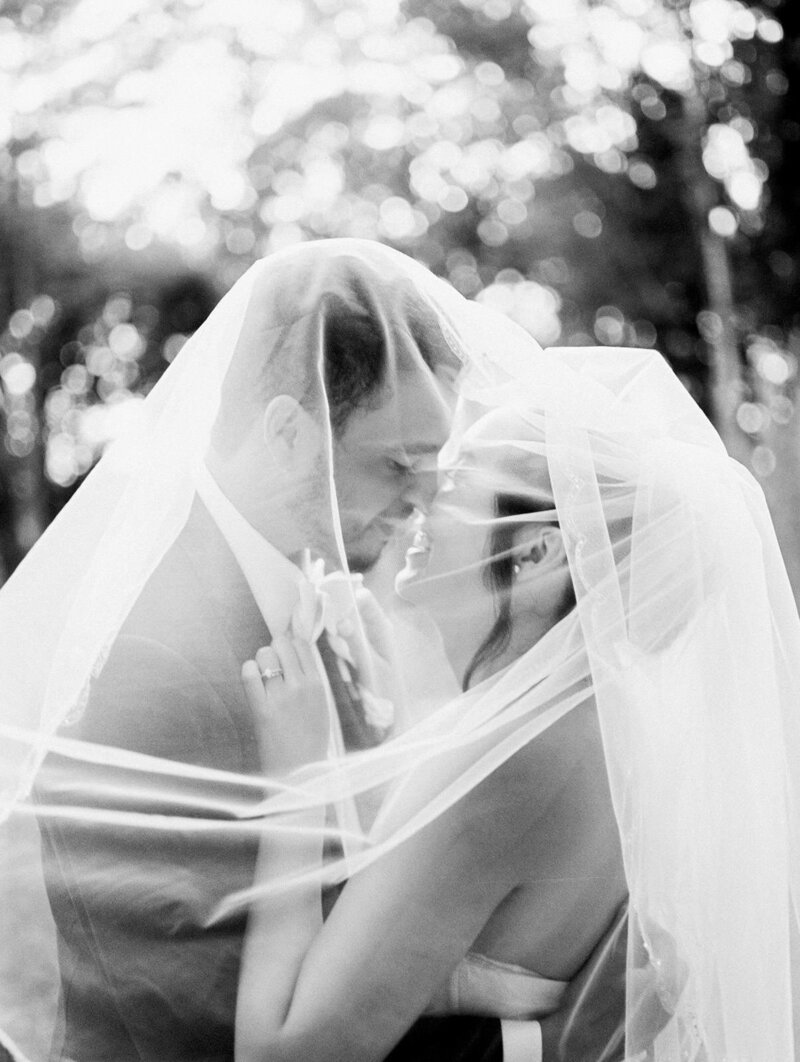 Bride and groom embrace on their wedding day beneath bride's veil